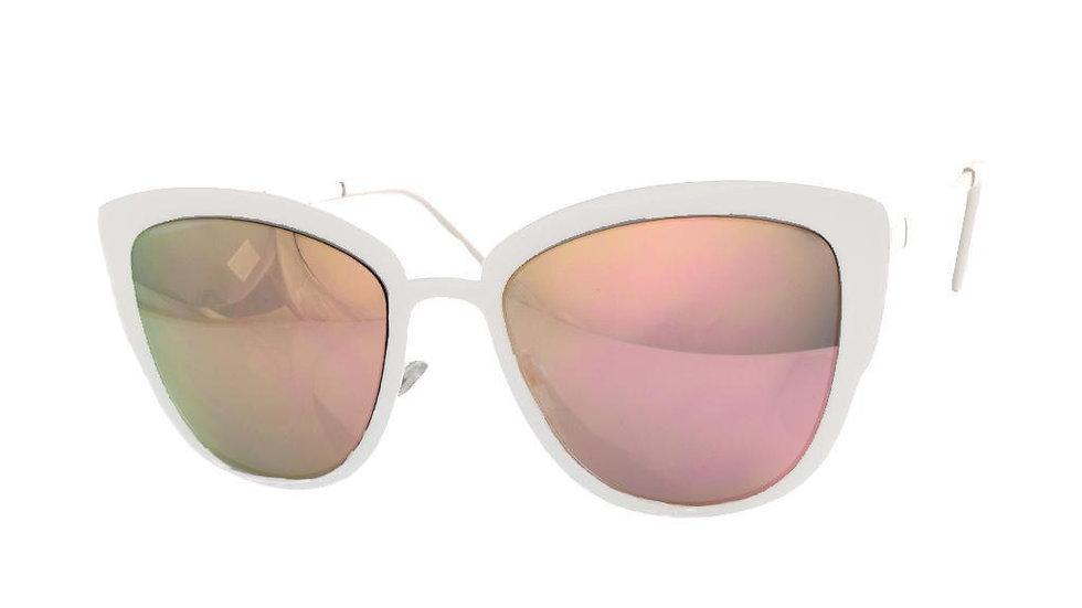 White Metal Mirror Sunglasses