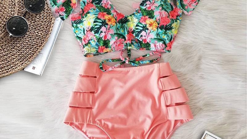 Double Shoulder Ruffle Bikini Set High Waist Swimwear Women Swimsuit V-Neck