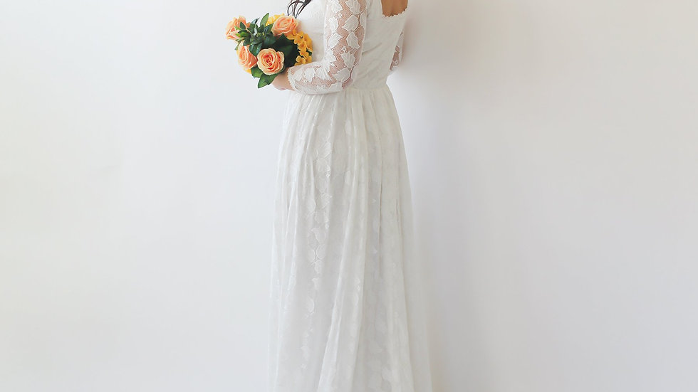 Curve & Plus Size Ivory Square Neckline  Wedding Train Dress #1272