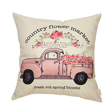 Country Flower Market Throw Pillow