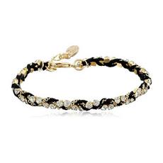 Ettika Black Silk Thread & Rhinestone Crystal Braided Bracelet
