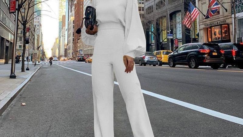 Wide Leg Bodycon Jumpsuit Overalls Long Sleeve Skinny Romper