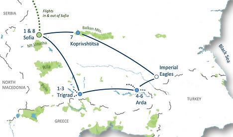 Route Map Bulgaria Birds