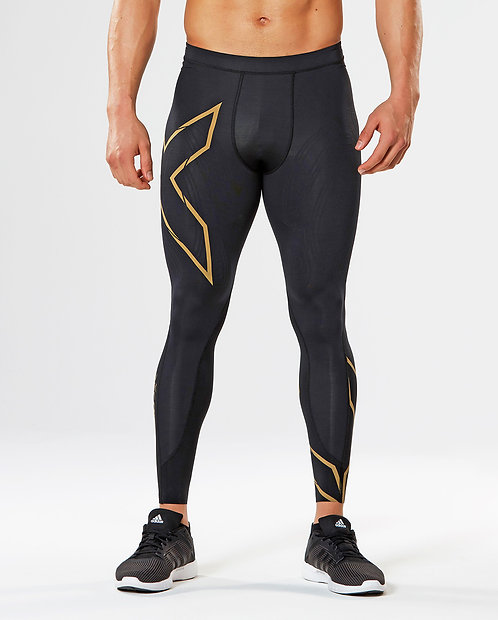 Calças 2XU Elite MCS Compression Tights Preto | Logo Dourado