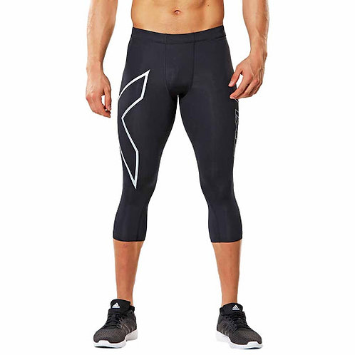 Corsairs 2XU 3/4 Compression Tights Black | Silver Logo