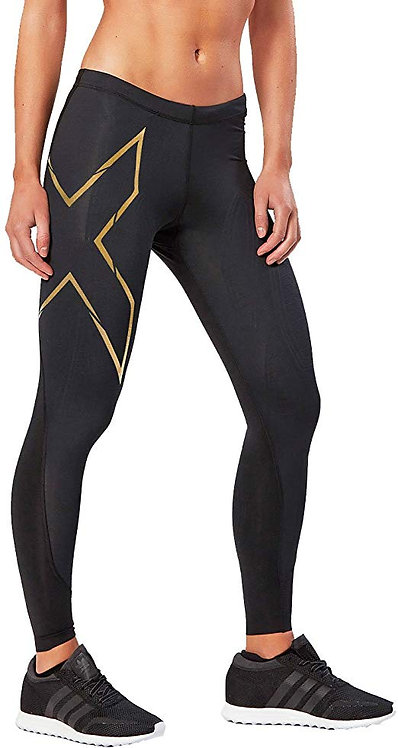 Pants 2XU Woman Elite MCS Compression Tights Black | Golden logo
