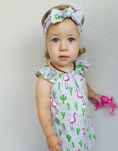 Flamingo & Cactus 🌵 Flutter Sleeves Dress & Headband