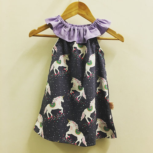 Purple Unicorn 🦄 Flutter Neck Dress