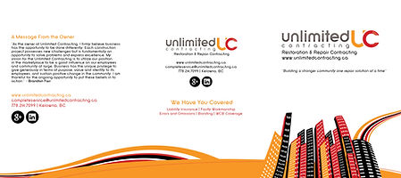 Unlimited Contracting, Kelowna Specialty Contractor Information Brochure