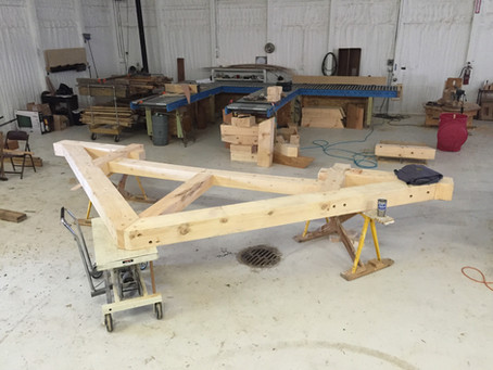 Eastern White Pine Hammer Beam Trusses in fabrication
