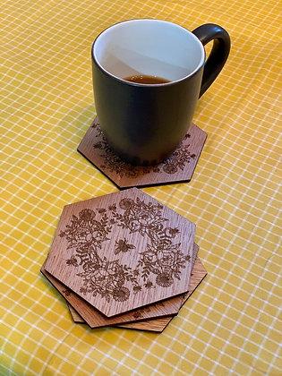 Wooden bee coaster