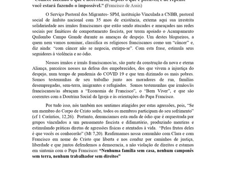 SPM EMITE CARTA DE SOLIDARIEDADE AOS IRMÃOS FRANCISCANOS