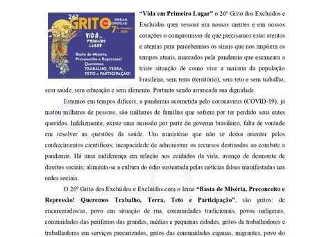 Carta de Apoio ao 26º Grito dos Excluídos e das Excluídas