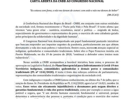 CARTA ABERTA DA CNBB AO CONGRESSO NACIONAL