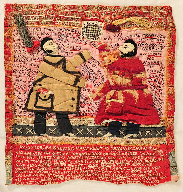 A patchwork piece measuring 12 feet and recording the anger of a workhouse inmate c. 1901, Norfolk, UK. Her mental disturbance is apparent at a glance.