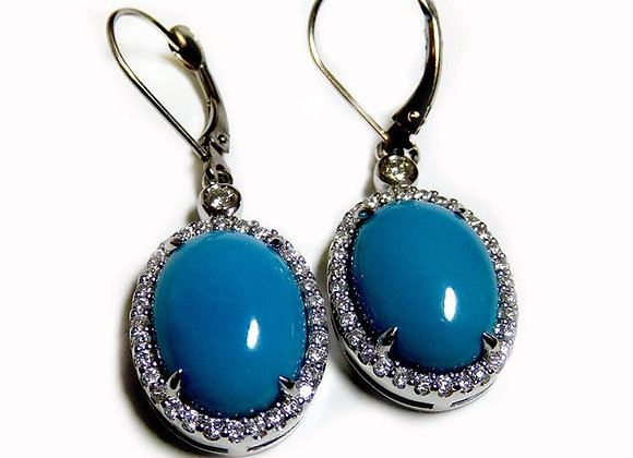 Sleeping Beauty Oval Gem Quality Capucon Turquoise Earrings.