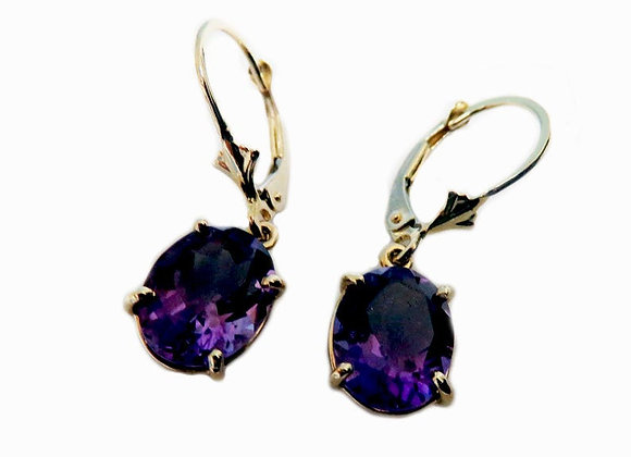 14K Amethyst Earrings With Pair of Oval Shaped Genuine Amethysts Gold Earrings