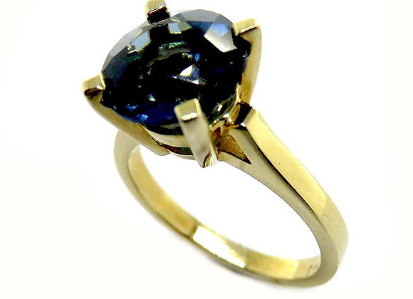 London Blue Topaz Engagement Ring Unique Simple Topaz Ring in 14K Yellow Gold