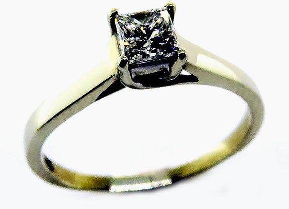Diamond Solitaire 14k White Princess Diamond Gold Ring