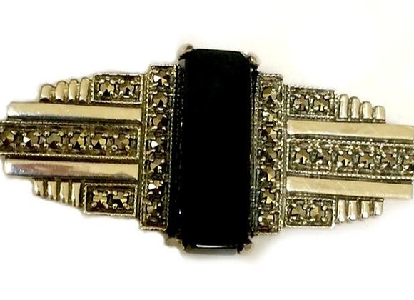 Black Onyx Marcasite Sterling Silver Brooch