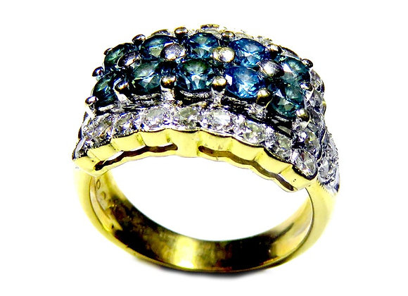 Blue Diamond Ring in 14k Two-Tone Gold Ring.