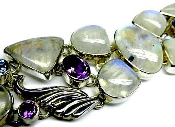 Genuine Moonstone & Precious Stones Silver Bracelet
