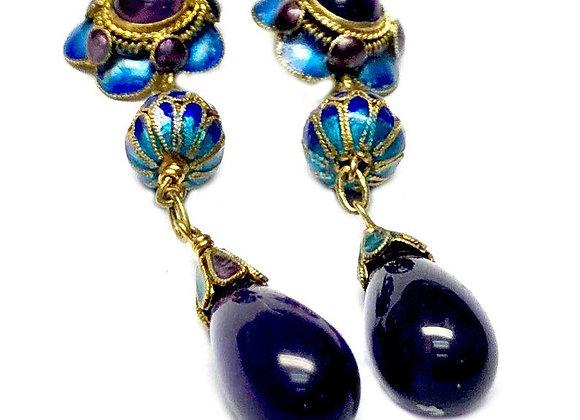 Gold Plated Enameled Amethyst Earrings