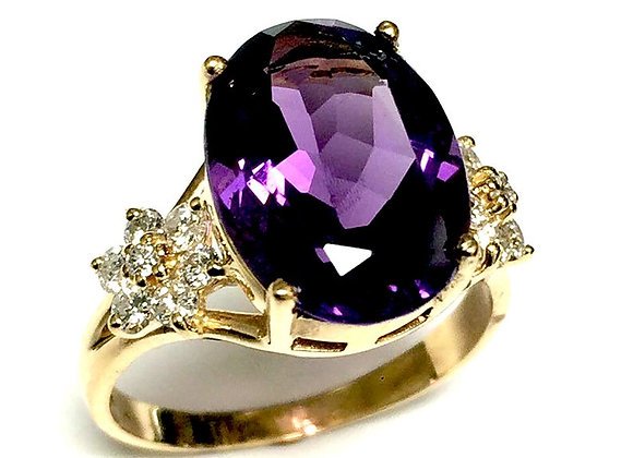 Amethyst 14K Lady's Two Tone Gold and Diamond Ring