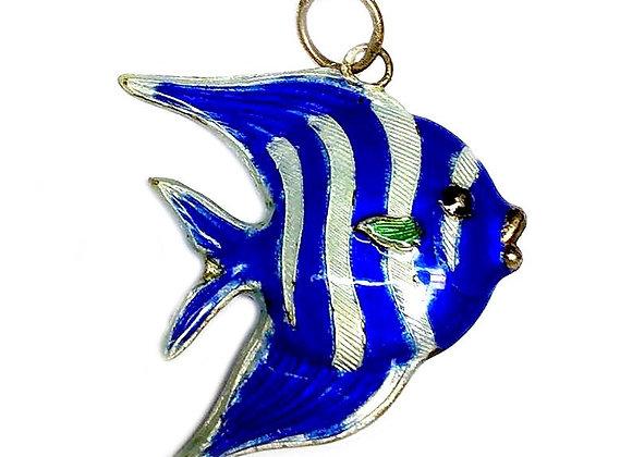 Bronze Enameled Fish Pendant