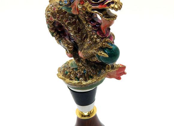 Jay Strongwater Sullivan Dragon Wine Stopper & Stand Swarovski Crystals
