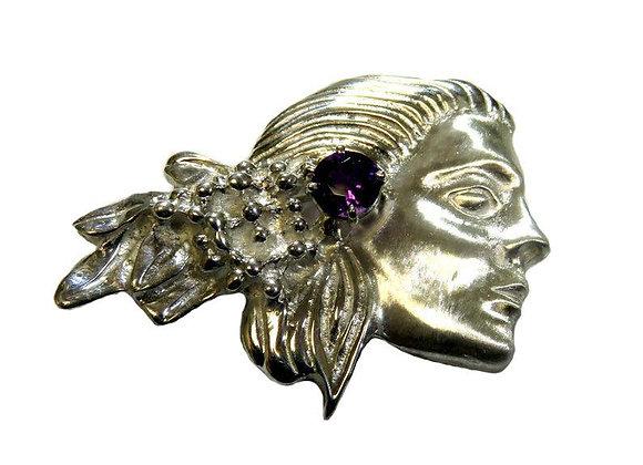 Lady's Profile Designed in Sterling Sliver Brooch