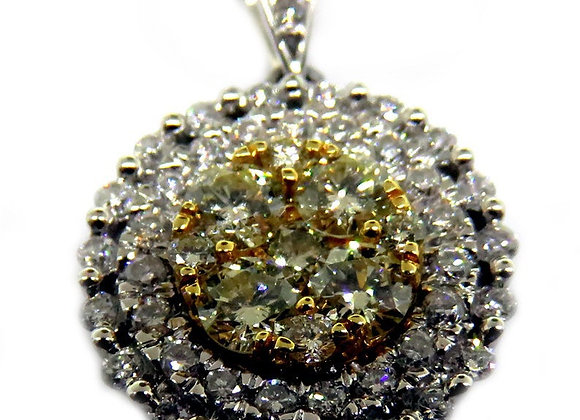 18K Gold Pendant Set With Multiple High Quality Assorted Size Diamonds.