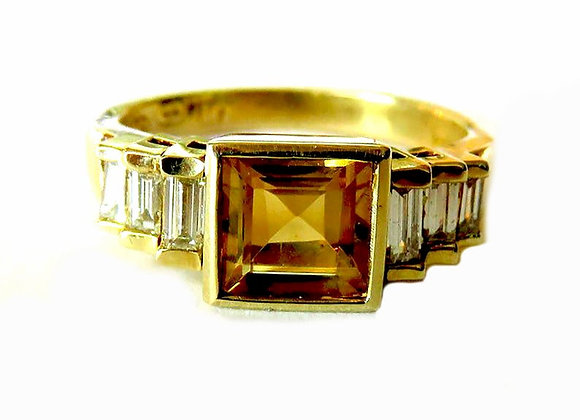 Genuine Citrine ring with six straight graduating genuine high quality baguettes
