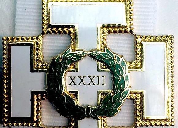 Scottish Rite Cross Jewel on white ribbon for 32nd Degree Members