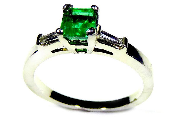 Genuine Emerald and Diamond Baguettes Engagement Ring
