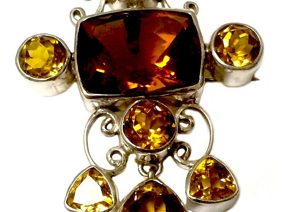 Genuine Gemstone CITRINE Sterling Silver Brooch