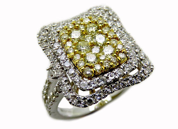 Yellow & White Genuine Diamonds Set in 14K Two Tone Gold Ring