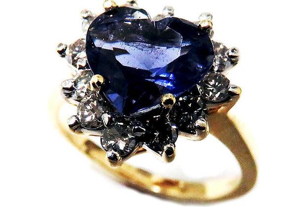 Genuine Heart Shaped Iolite Gemstone and Diamonds Ring