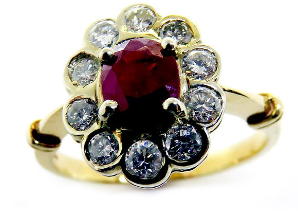 14k Gold Ring with Genuine Rubies and Diamonds.