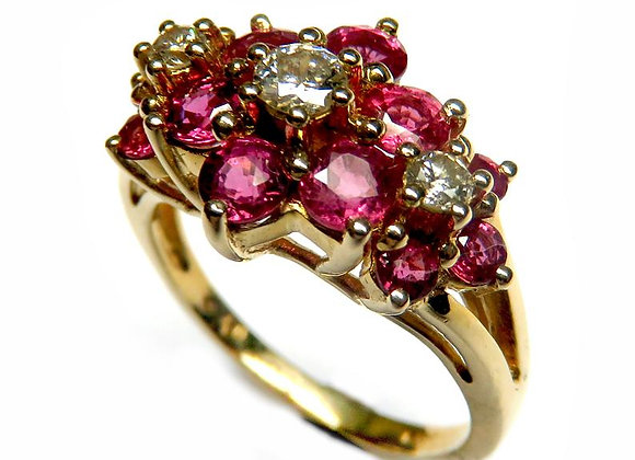 14k Gold Ring Set With Genuine Rubies and Diamonds Made of 14K Yellow Gold Ring