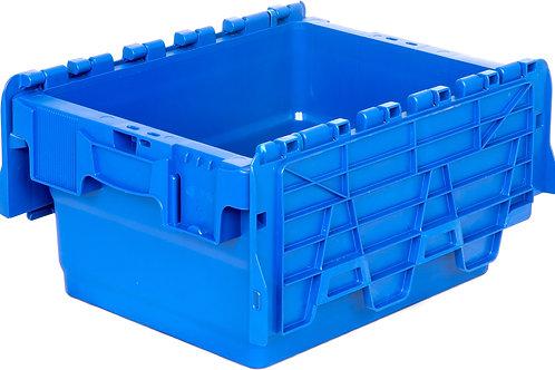 арт. SPKM 4320 Пластиковый ящик 300х400х200 сплошной синий с крышкой