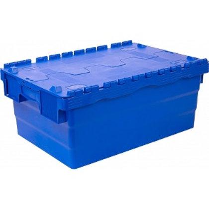 арт. SPKM 250 Пластиковый ящик 600х400х250 сплошной синий с крышкой