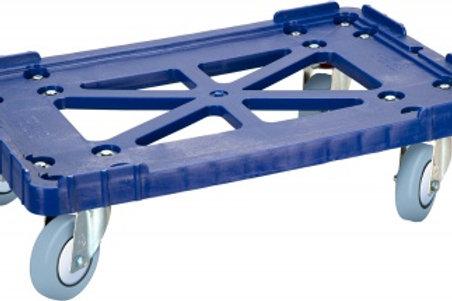 Тележка 600х400 пластик, (Россия) синяя, серые резиновые колеса