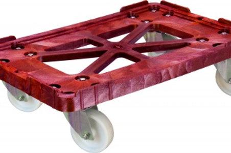 Тележка 600х400 пластик, (Россия) красная, полиамидные колеса, два неповоротных