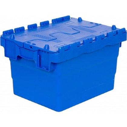 арт. SPKM 4325 Пластиковый ящик 300х400х250 сплошной синий с крышкой