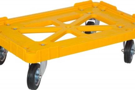 Тележка 600х400 пластик, (Россия), желтая, черные резиновые колеса