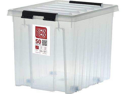 арт. Rox Box 50 Ящик п/п 500х390х400 мм с крышкой и клипсами, на роликах