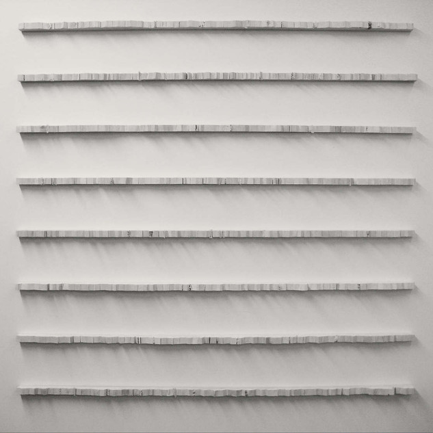 """Overall-  3'l x 3'w x 1""""d   18 pieces on wall"""