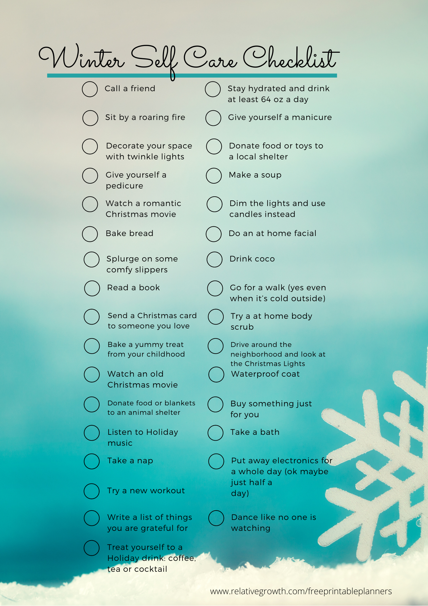 WINTER SELFCARE Free Printable Planner
