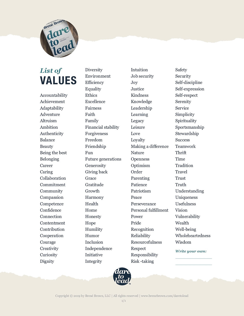 Your Personal Core Value List